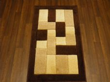 Modern Aprox 4x2 60cm x110cm New Rugs Woven Hand Carved Nice Blocks Brown/beige